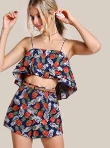 Camisole trapèze à étages &Shorts
