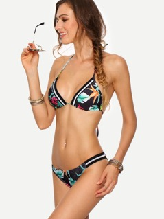Striped-Trim Tropical Print Triangle Bikini Set