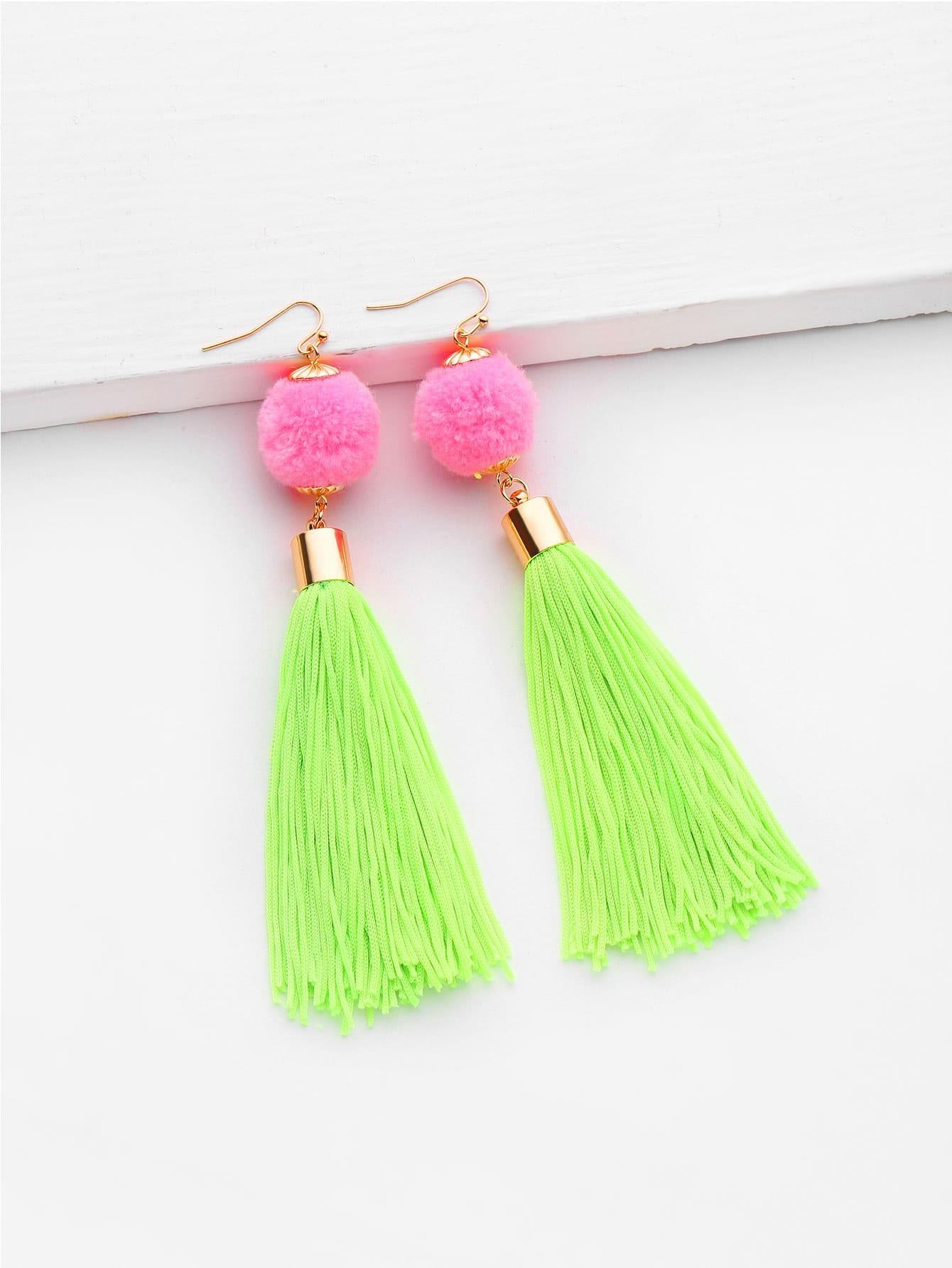Фото Pom Pom And Tassel Design Drop Earrings. Купить с доставкой