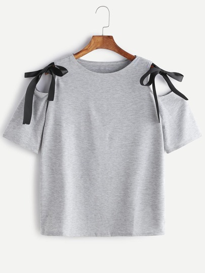 Open Shoulder Bow Tie Detail Marled T-shirt