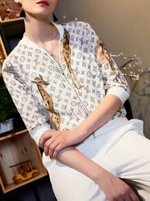 Giraffe Print Zipper Jacket