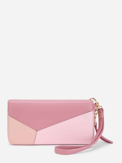 Color Block Zip Around PU Purse