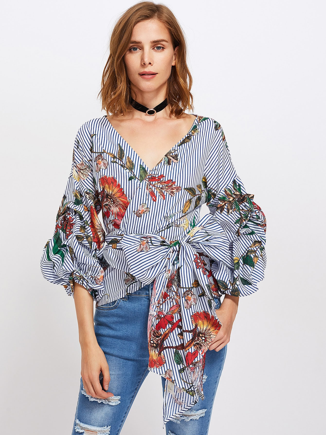 Gathered Sleeve Mixed Print Surplice Wrap Top mixed print surplice wrap jumpsuit