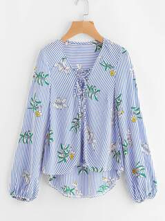 Mixed Print Lace Up Staggered Hem Blouse