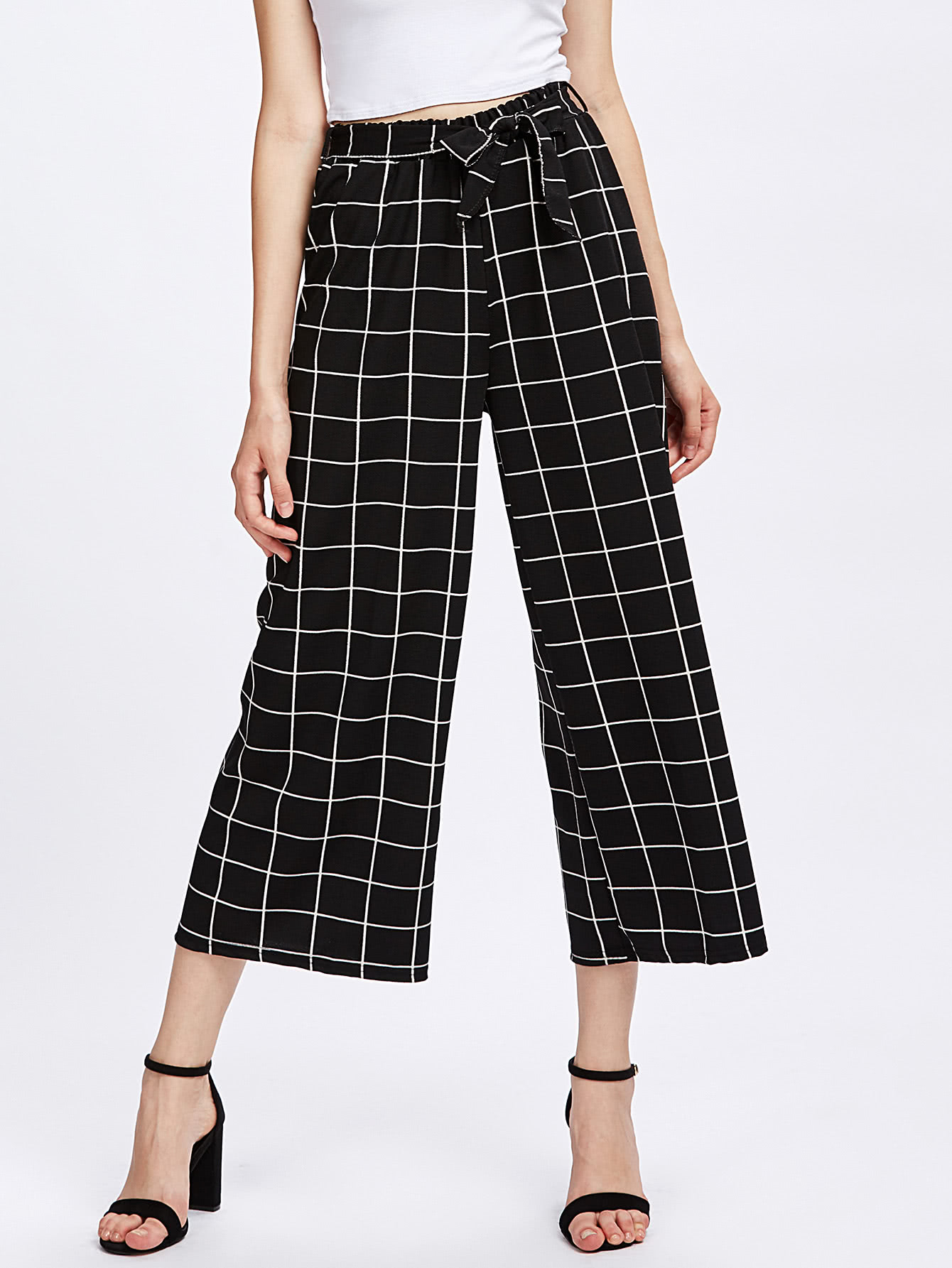 Grid Print Self Tie Wide Leg Pants bow tie side wide leg pants