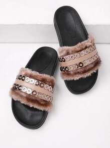 Sandales en cuir faux détail de métal