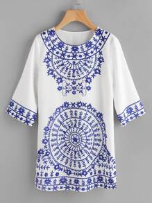 Porcelain Print Vented Hem Dress