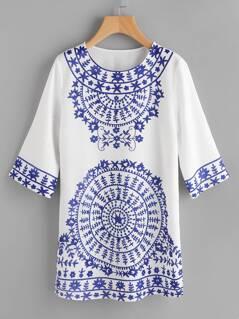 Porcelain Print Vented Hem Dress