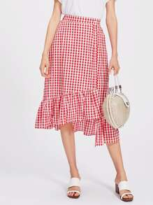 Button Front Staggered Tiered Hem Gingham Skirt
