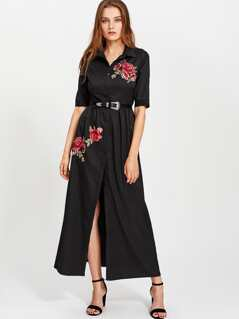 Embroidered Flower Patch Smock Shirt Dress