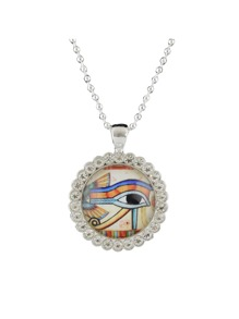 Ethnic Style White Color Rhinestone Eye Shape Pendant Necklace