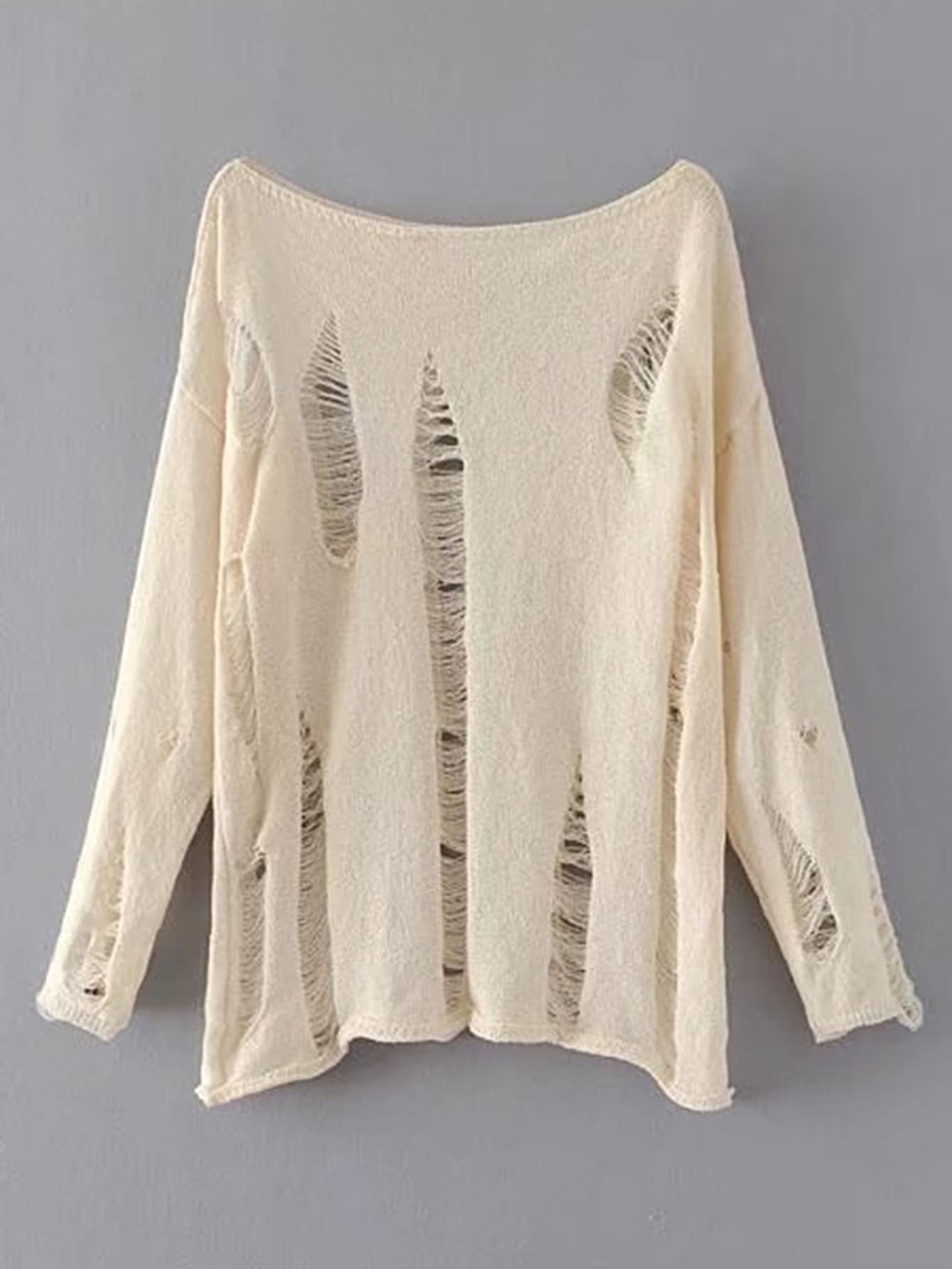 Boat Neckline Distressed Knitwear sweater170724205