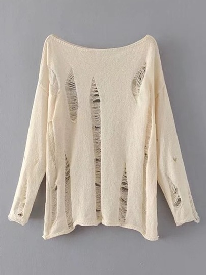 Boat Neckline Distressed Knitwear