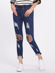 Mesh Ripped Knee Destroyed Jeans