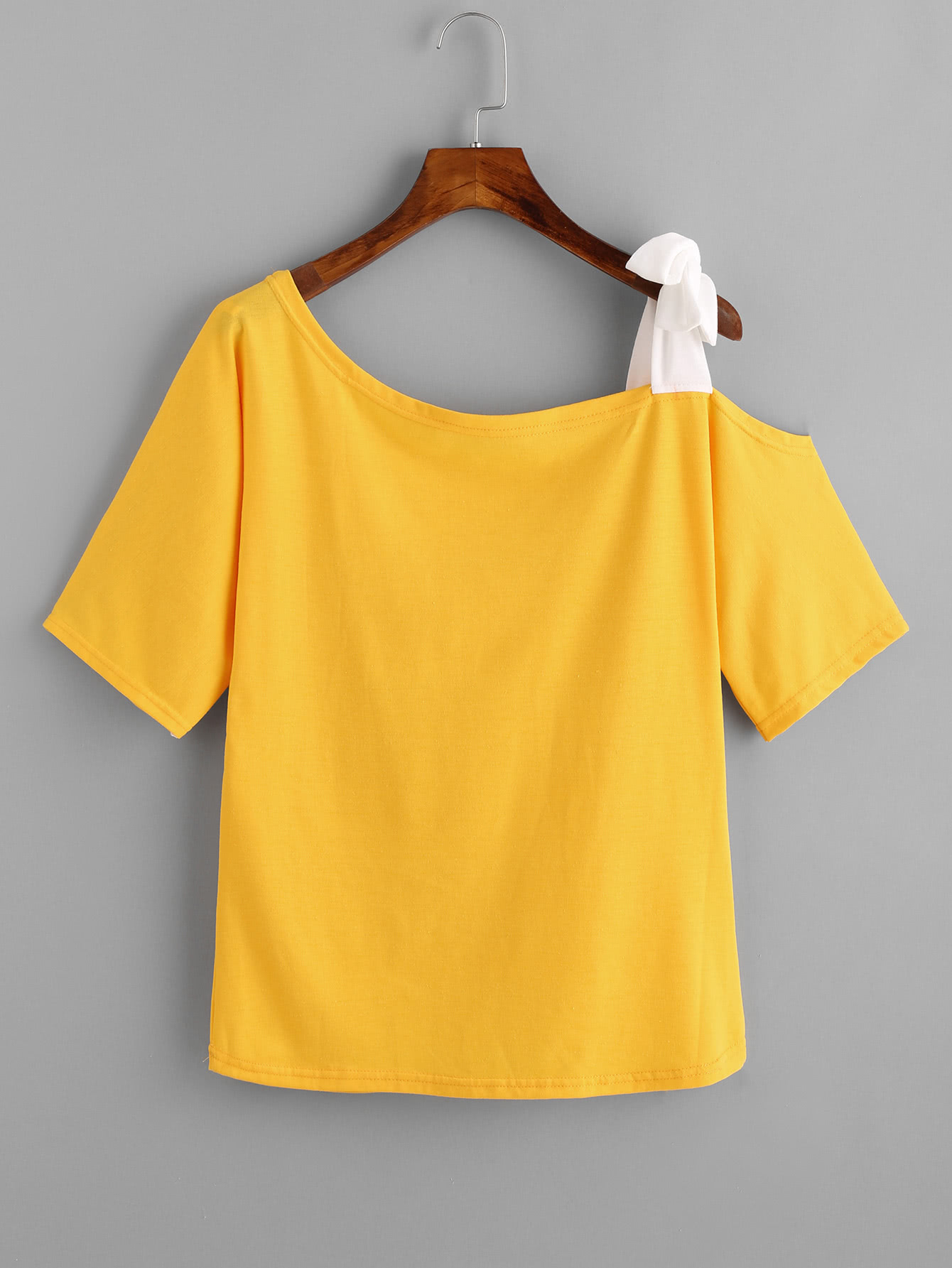 Asymmetrical Bow Tie Shoulder Tee