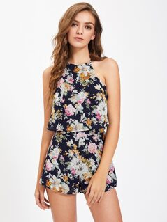 Floral Print Two Layer Split Back Halter Romper