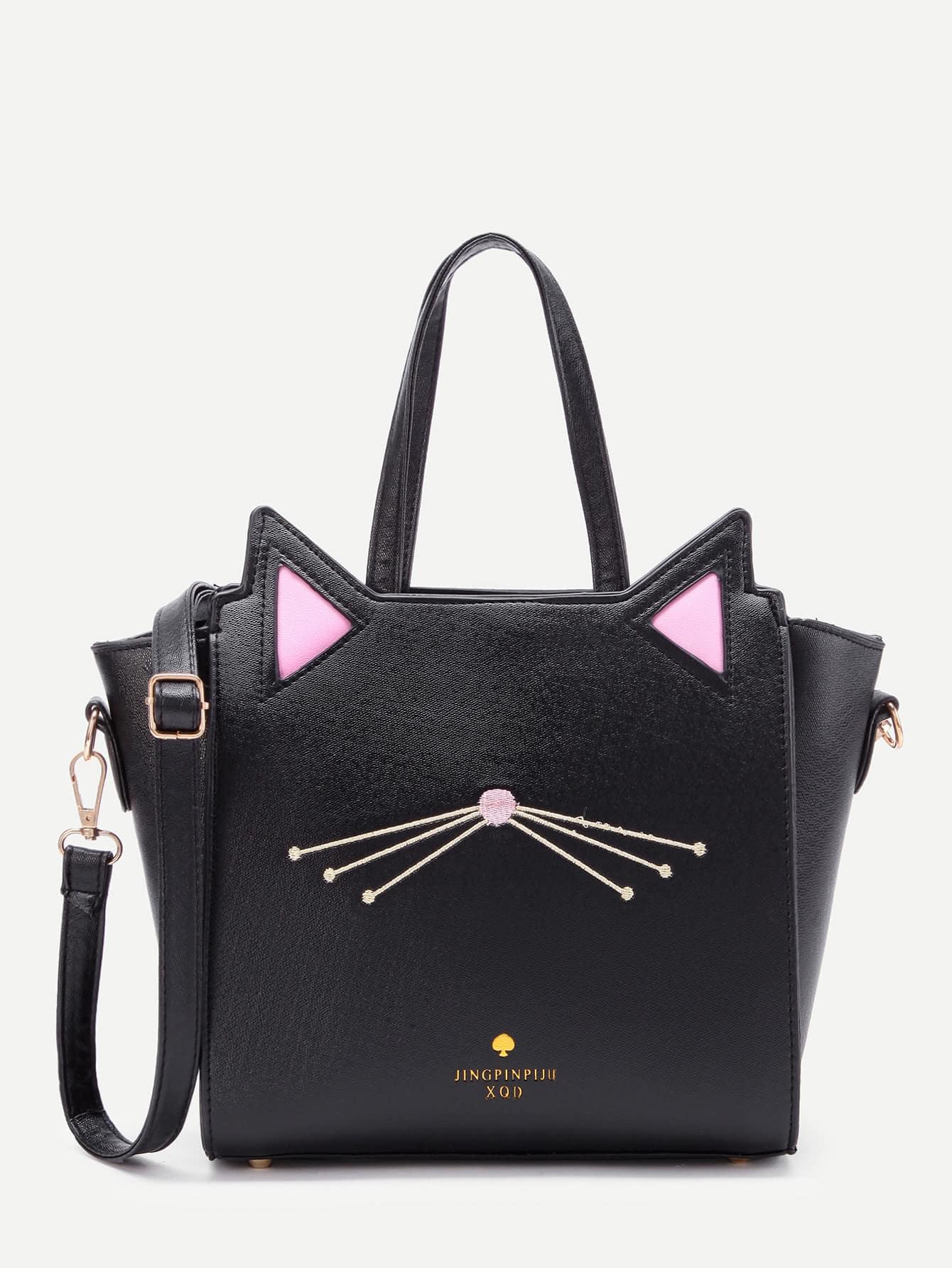 Cat Ear Embroidery Detail PU Shoulder Bag waterman