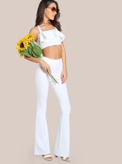 Solid Crop Top & Matching Flare Leg Pants Set WHITE