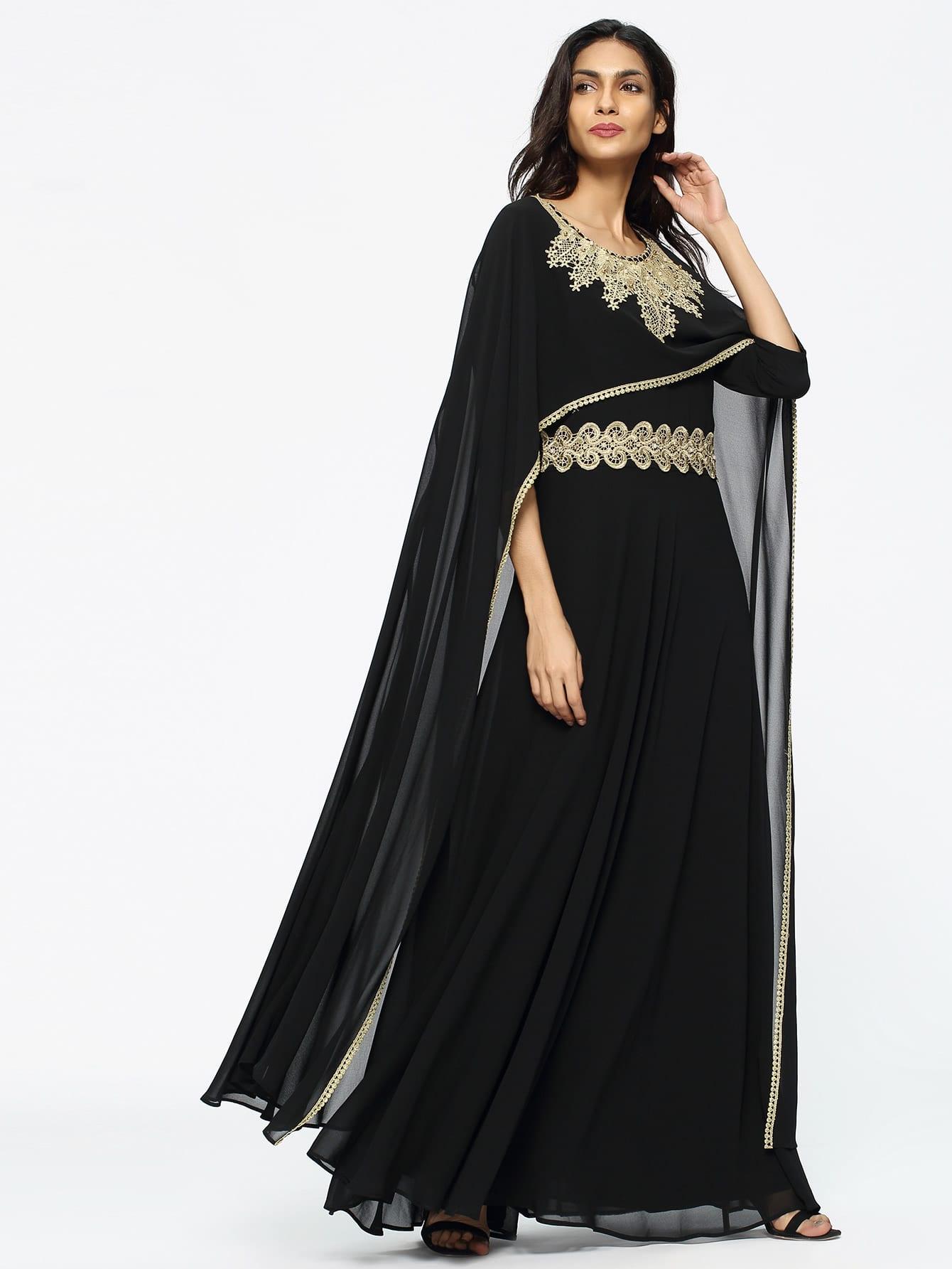 Фото Lace Crochet Appliques Sheer Cape Dress. Купить с доставкой
