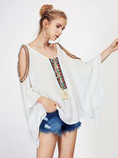 Open Shoulder Tassel Tie Top