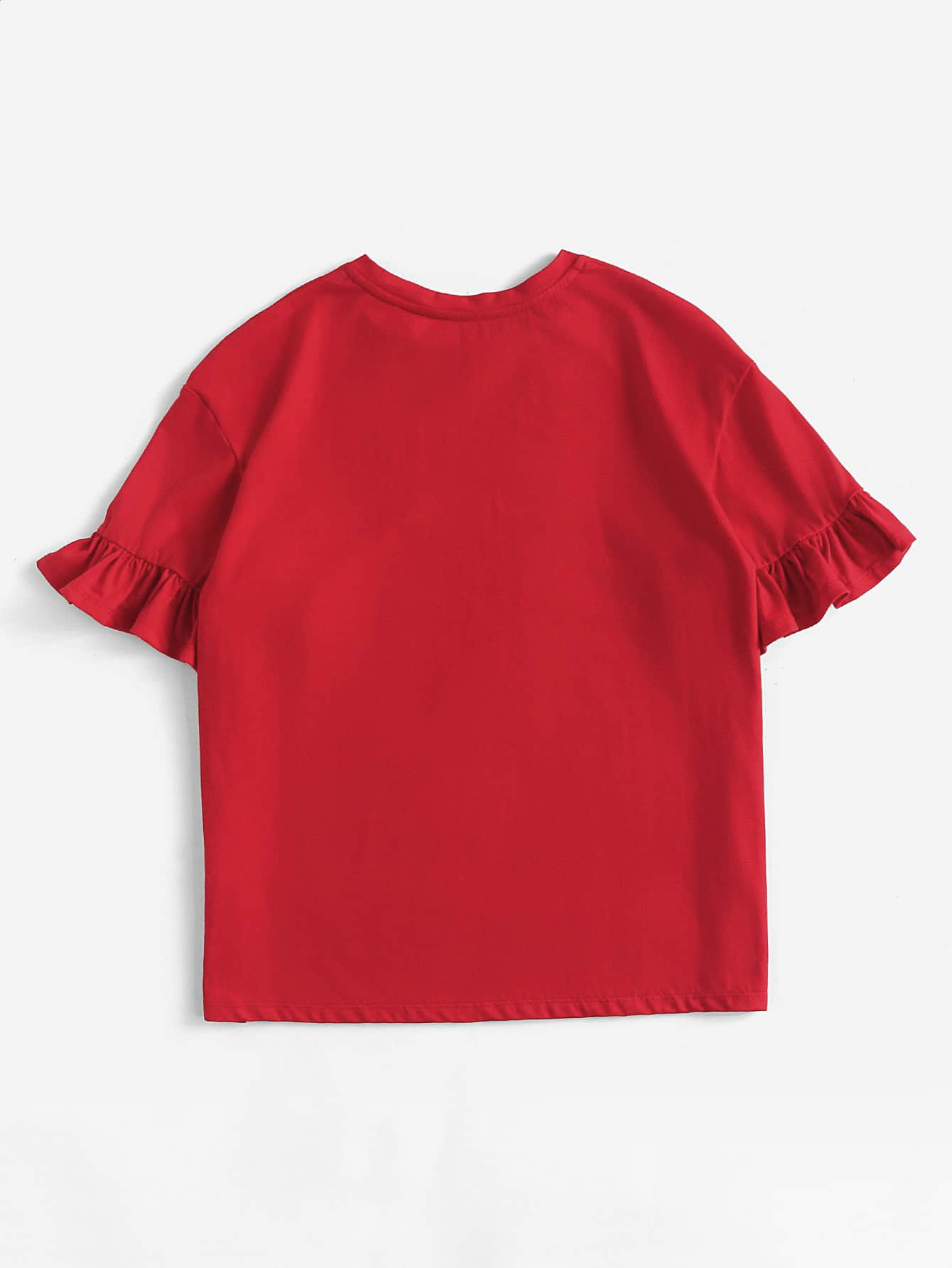 Drop Shoulder Frill Sleeve Tee