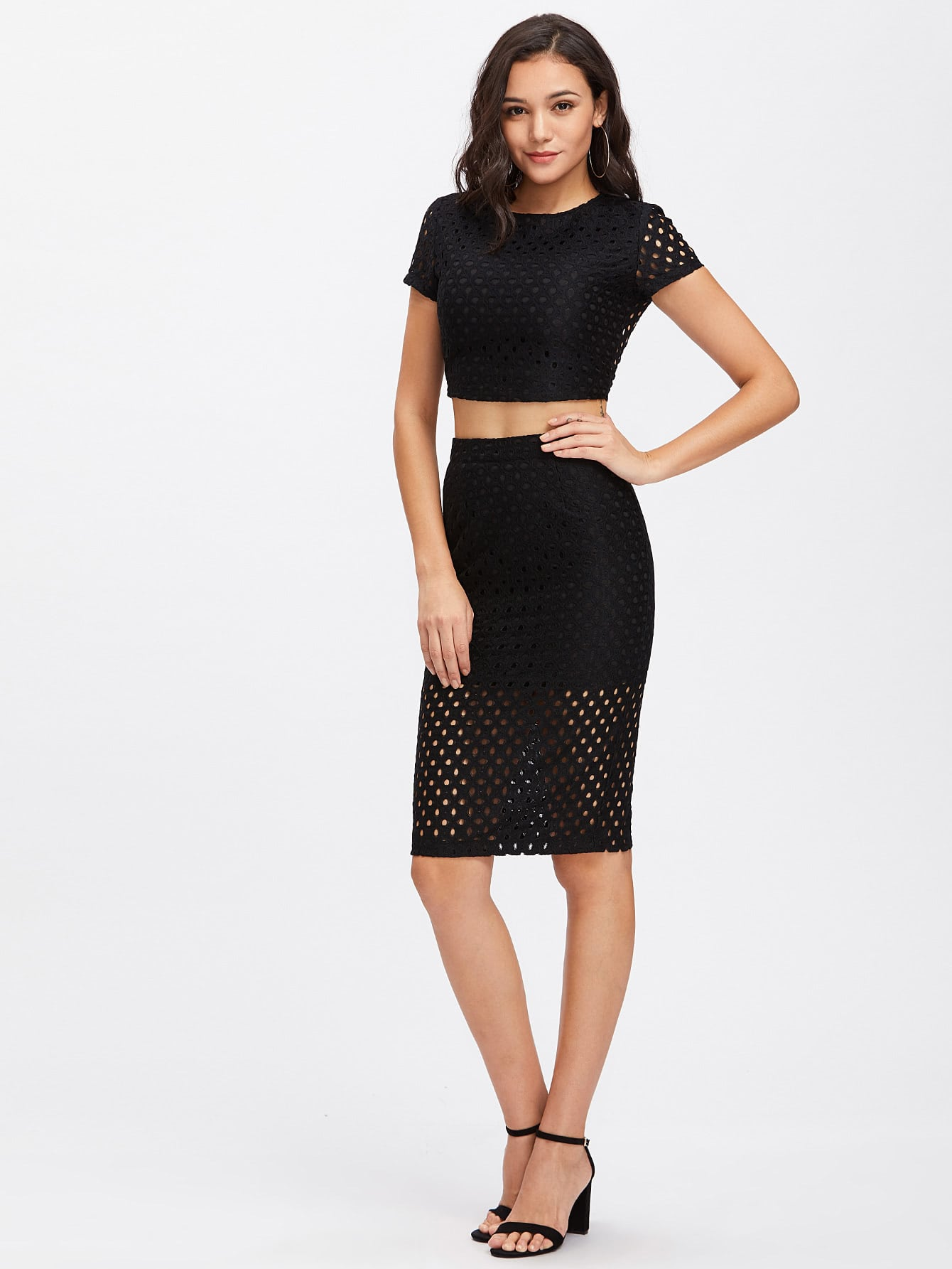 exposed zipper back eyelet crop top and pencil skirt co