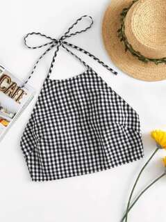 Bow Back Gingham Halter Top