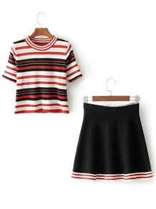 Striped Knit Tee With A Line Skirt