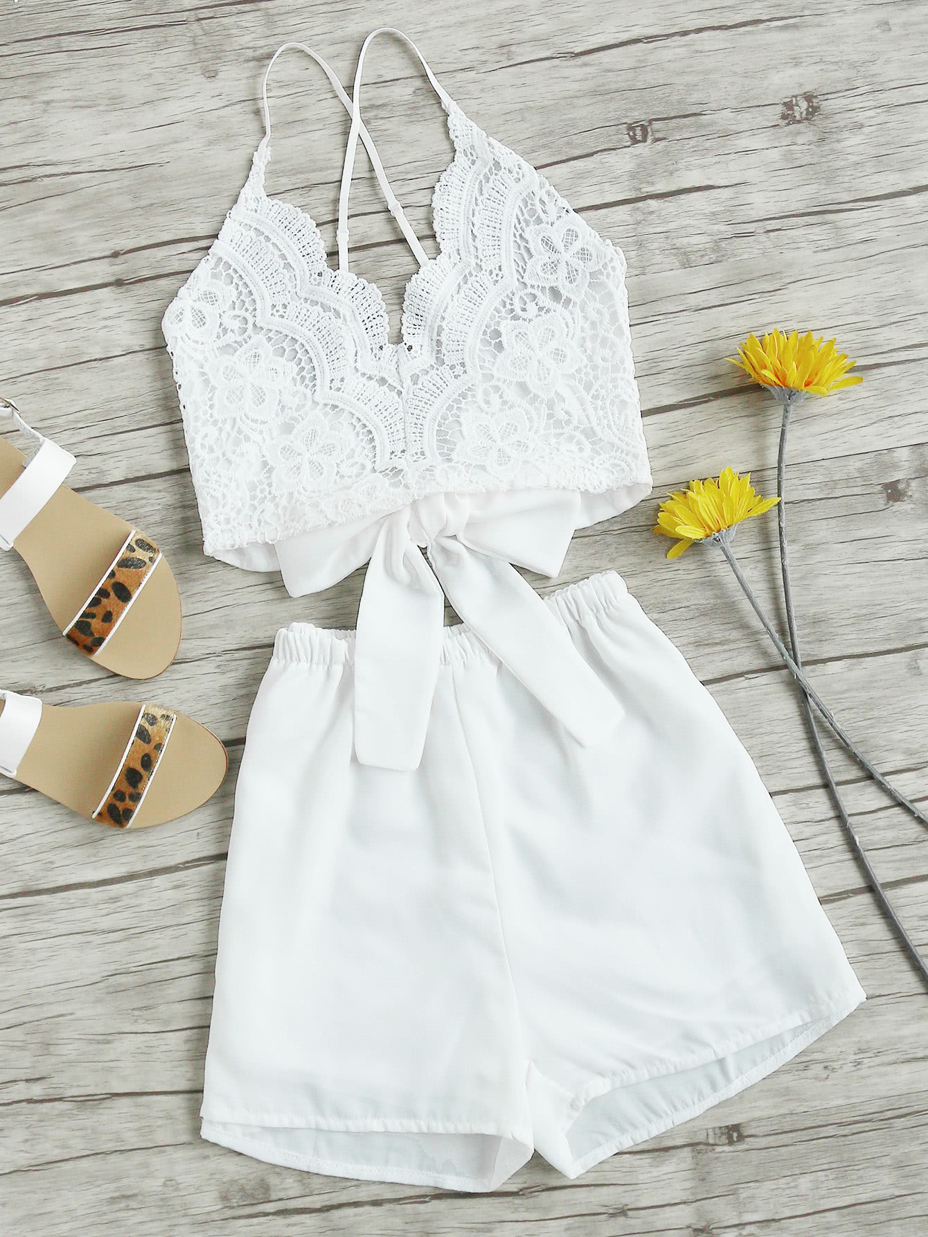 Lace Panel Criss Cross Bow Tie Back Cami Top With Shorts tie back crochet lace cami top