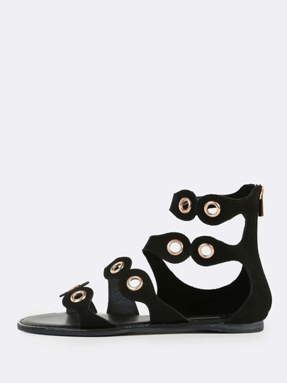 Multi Grommet Band Sandals BLACK
