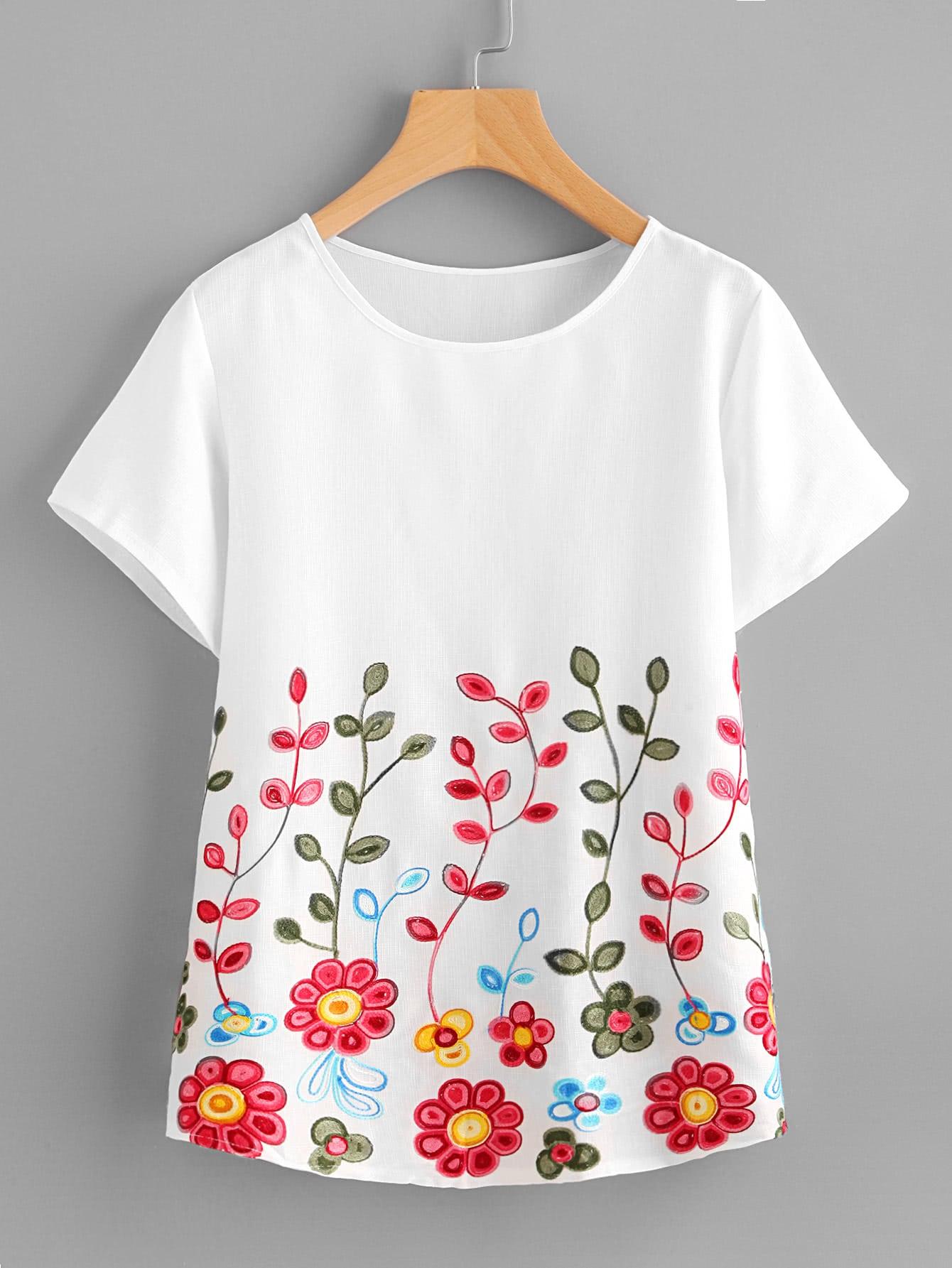 Фото Flower Embroidery Short Sleeve Top. Купить с доставкой