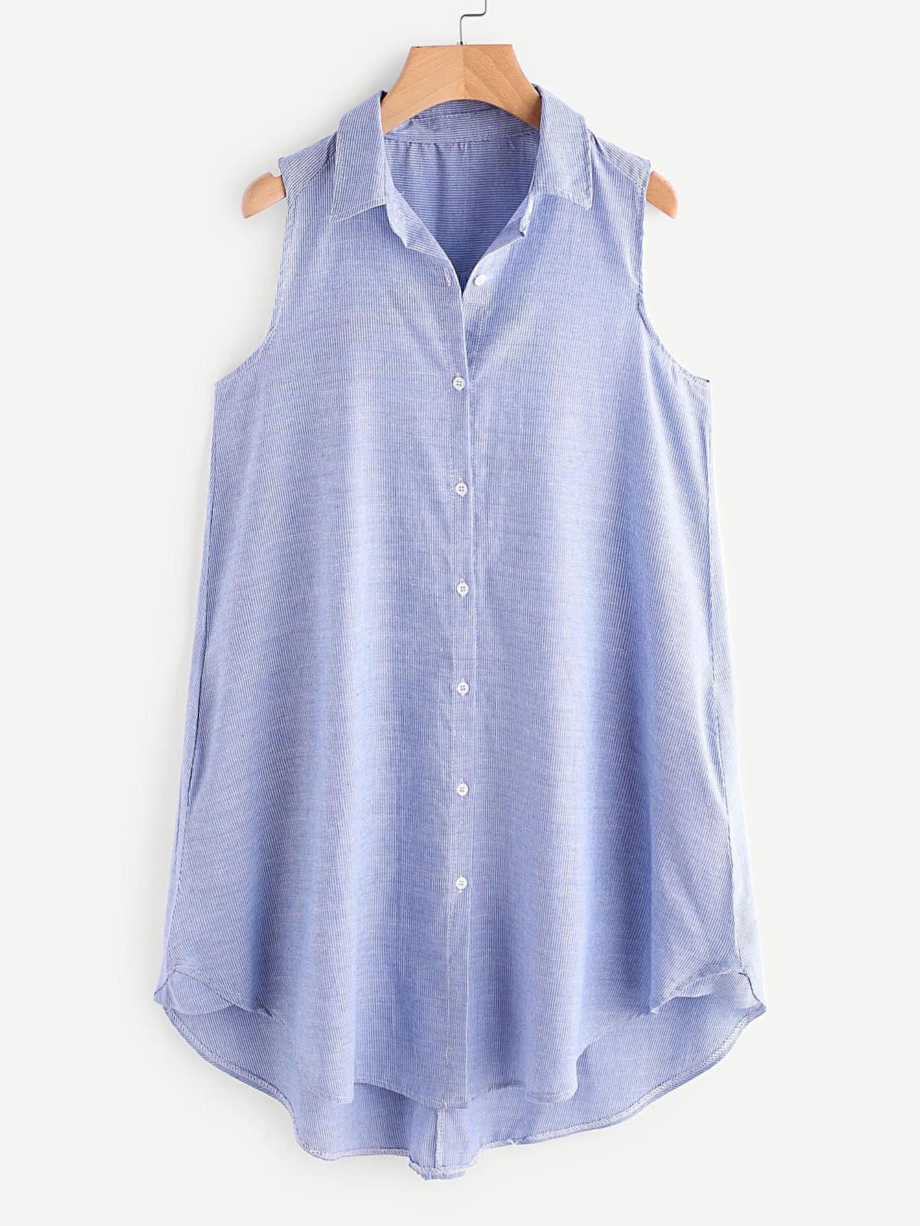 Фото Pinstriped Dip Hem Shirt Dress. Купить с доставкой