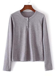 Long Sleeve Tee With Buttons
