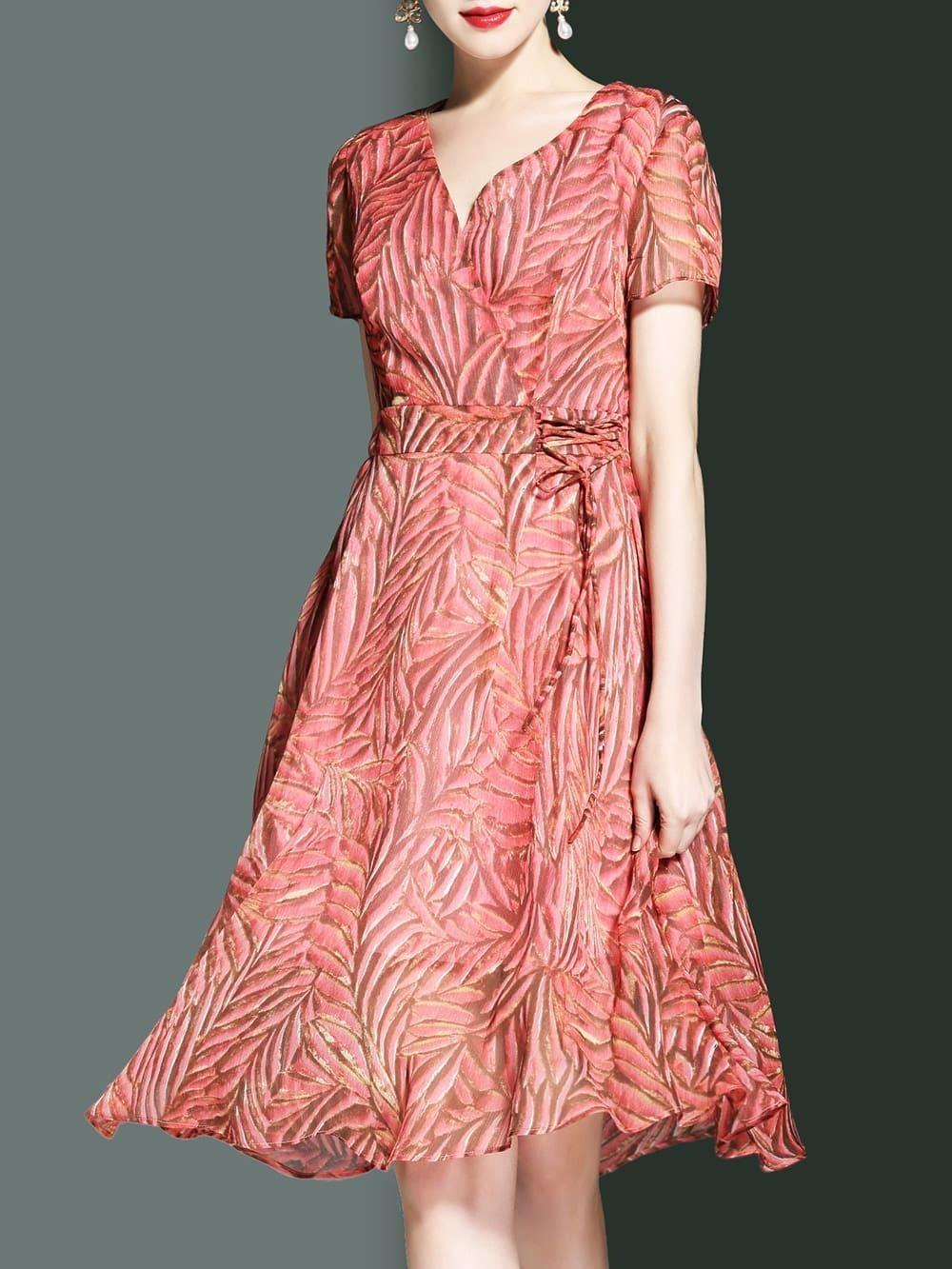 Фото V Neck Leaves Print A-Line Dress. Купить с доставкой