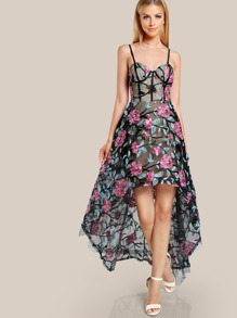 Floral Embroidered Bustier Mesh Dress BLACK