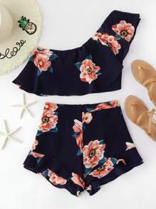 Flounce One Shoulder Crop Top And Shorts Co-Ord
