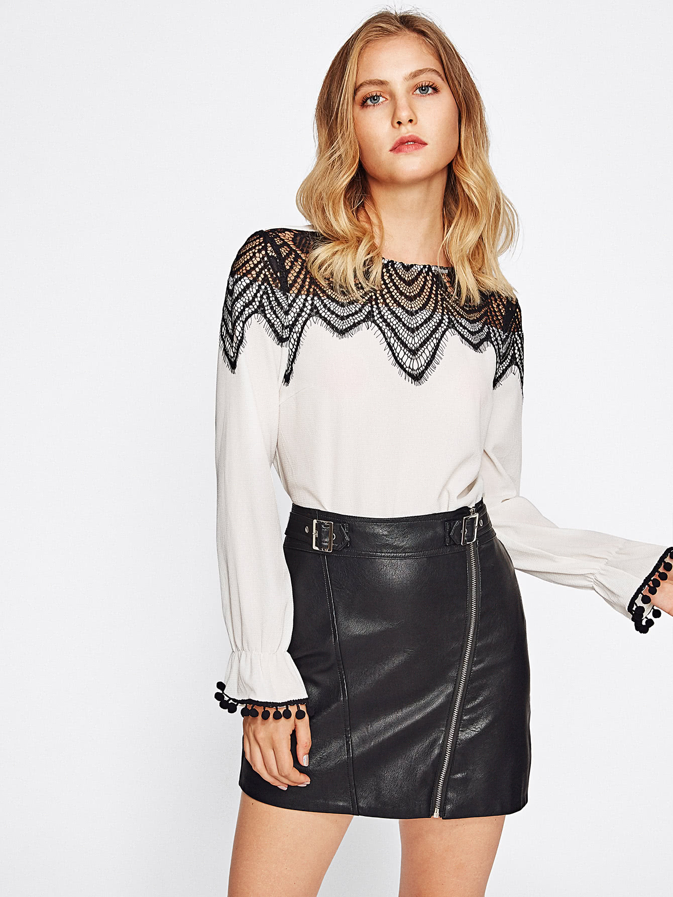 Contrast Lace York Pom Bell Cuff Top
