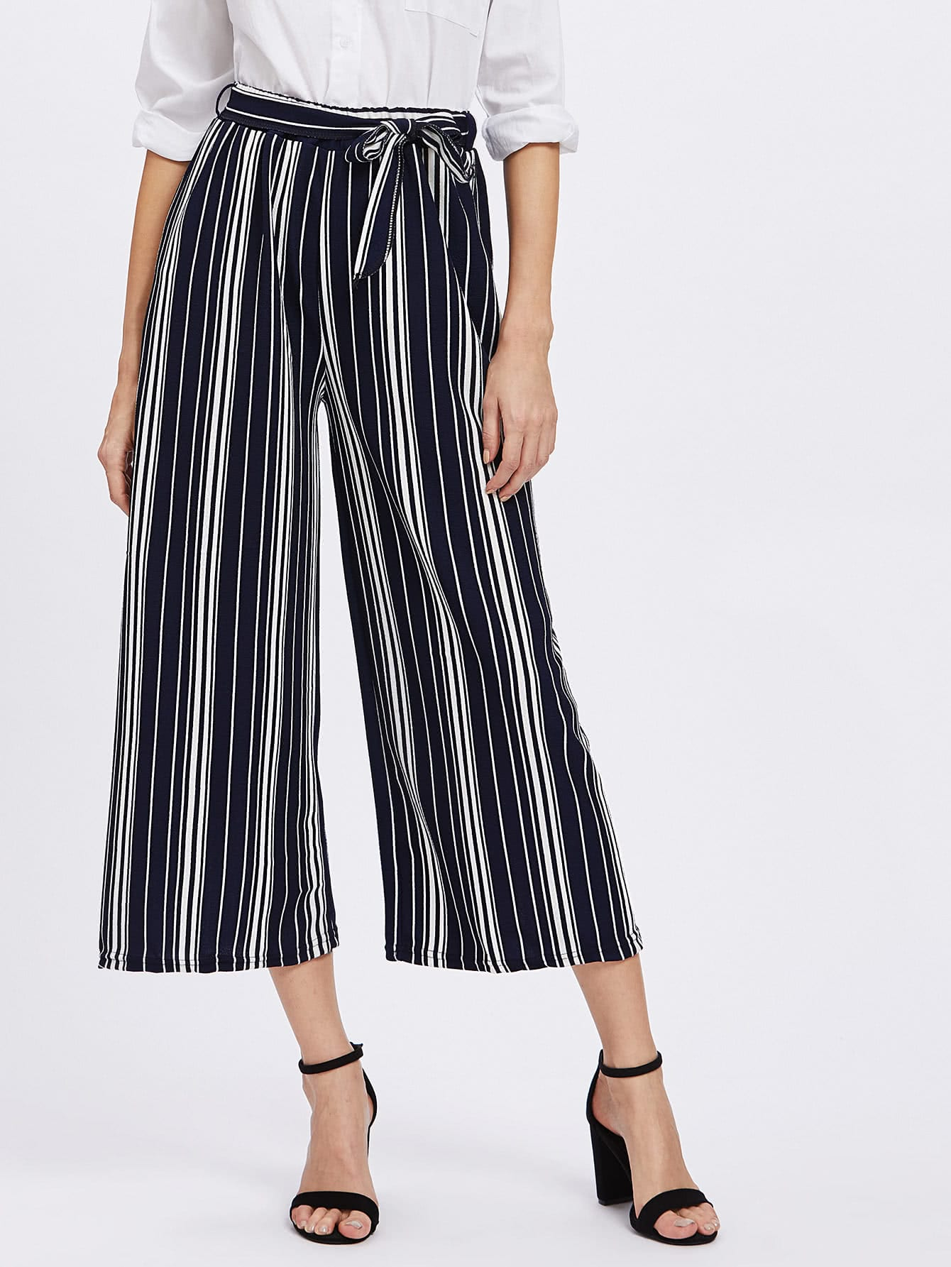 Vertical Striped Self Tie Wide Leg Pants bow tie side wide leg pants