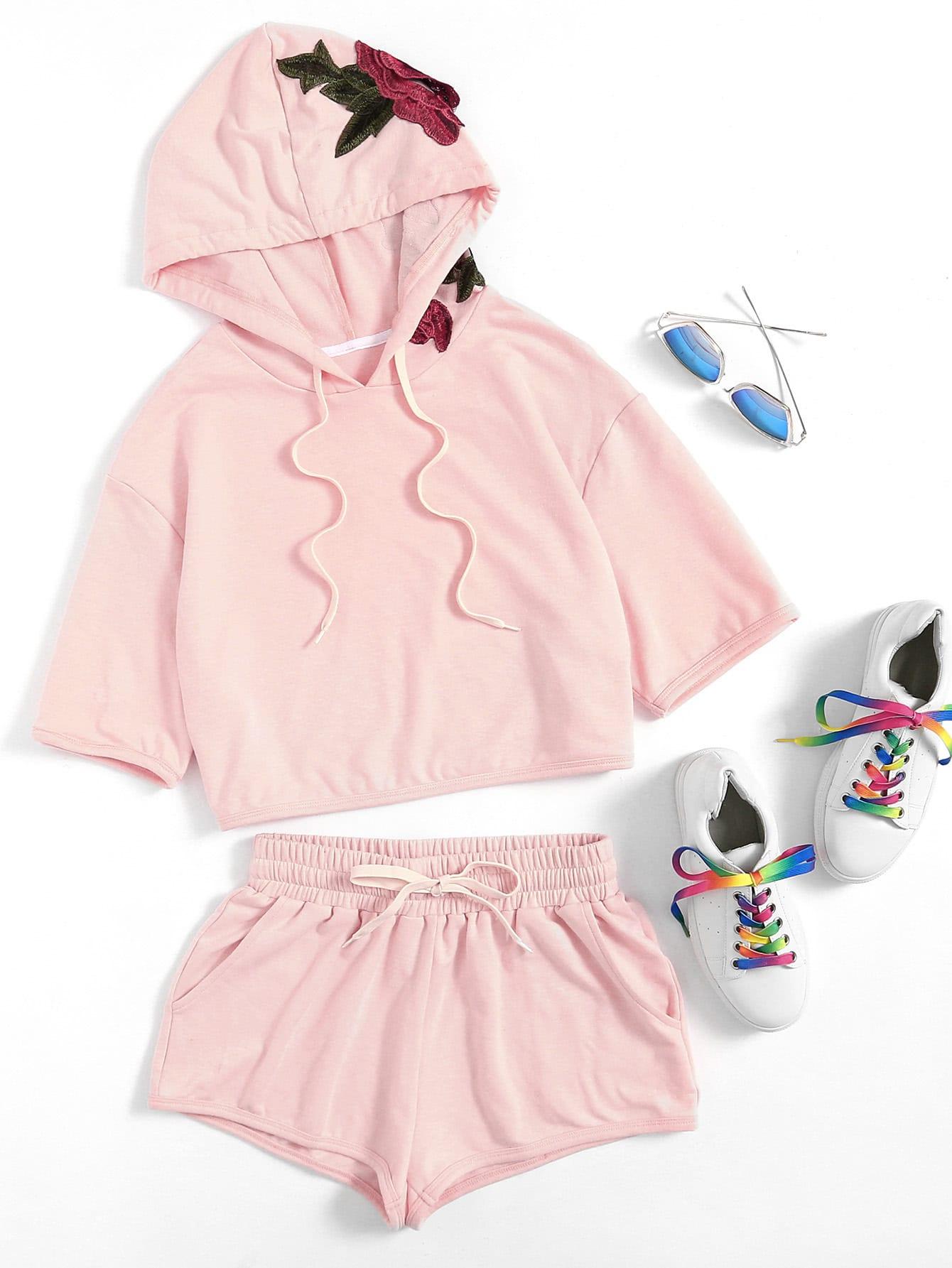 Фото 3D Flower Applique Hoodie & Shorts Set. Купить с доставкой