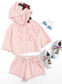 3D Flower Applique Hoodie & Shorts Loungewear Set