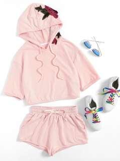 3D Flower Applique Hoodie & Shorts Set