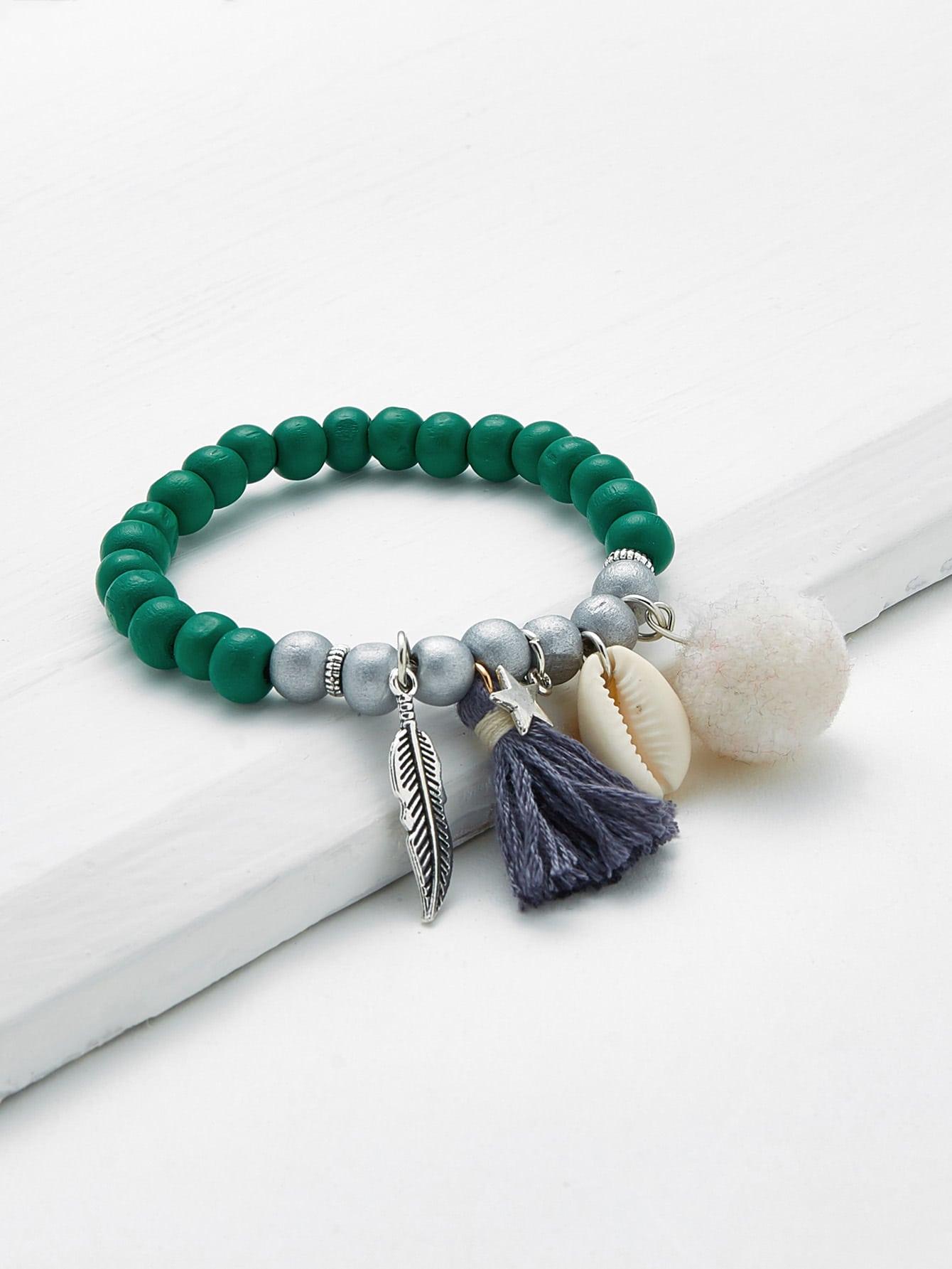 Leaf & Shell Design Beaded Charm Bracelet