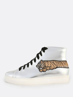 Embroidered Tiger Metallic Hi-Top Sneakers SILVER