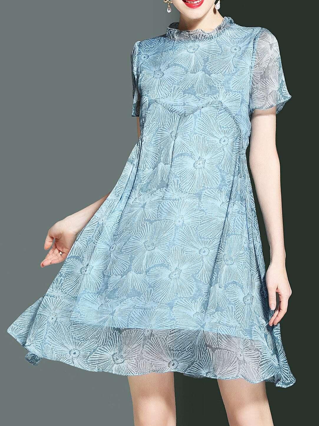 Фото Snowflake Print Shift Chiffon Dress. Купить с доставкой