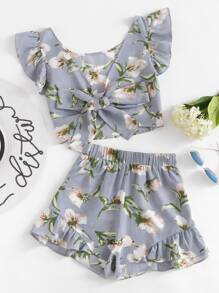 Allover Florals Bow Tie Detail Frill Top With Shorts