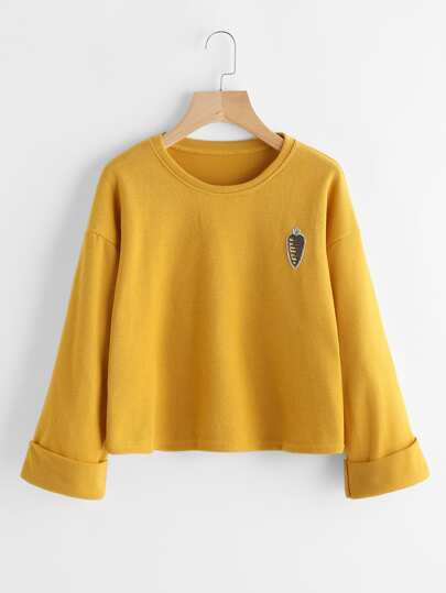 Rolled Cuff Patch Sweatshirt