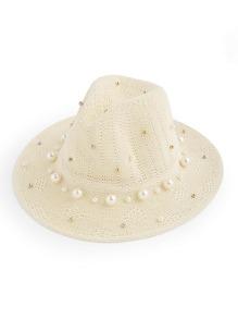 Sombrero embellecido de perla artificial