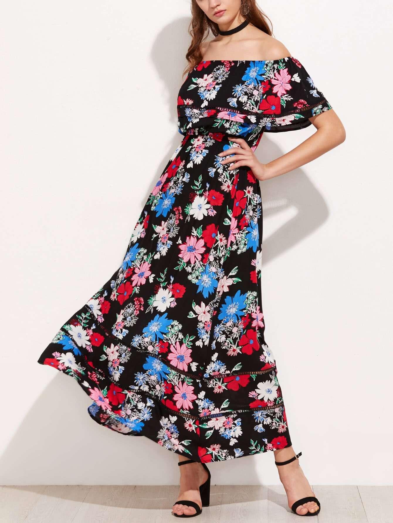 Фото Flounce Layered Neckline Lace Insert Floral Dress. Купить с доставкой