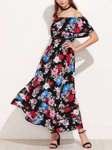 Flounce Layered Neckline Lace Insert Floral Dress