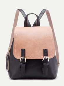 Two Tone Zipper Detail PU Backpack